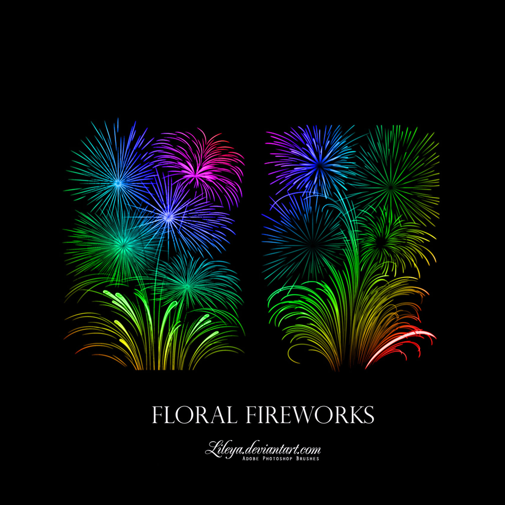 Free Photoshop Brush Sets Floral Fireworks