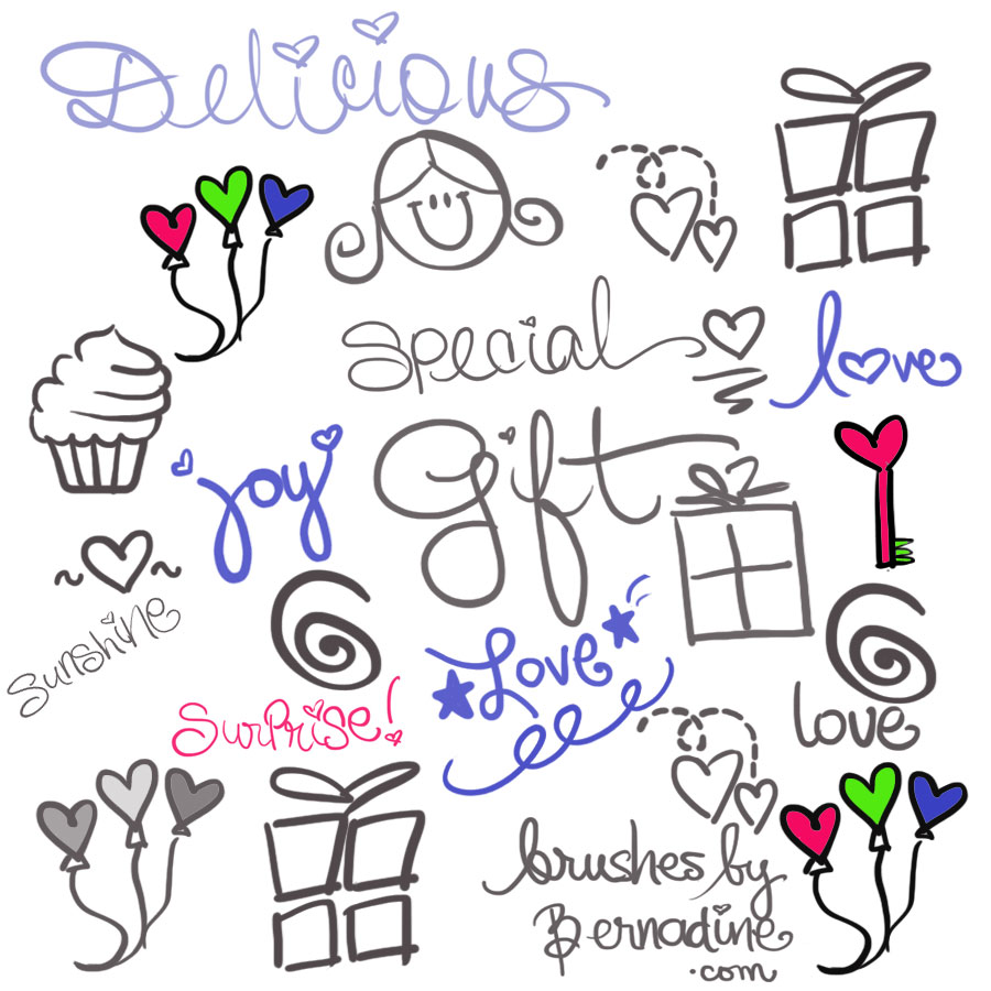 set of 21 cute sweet girly girl love doodle brushes
