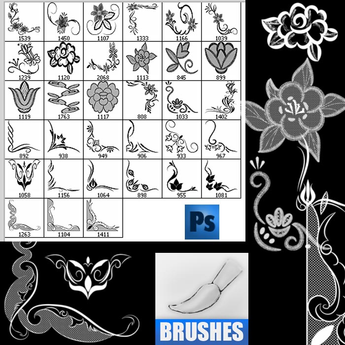 Floral Ornament Frames Brushes - Photoshop brushes