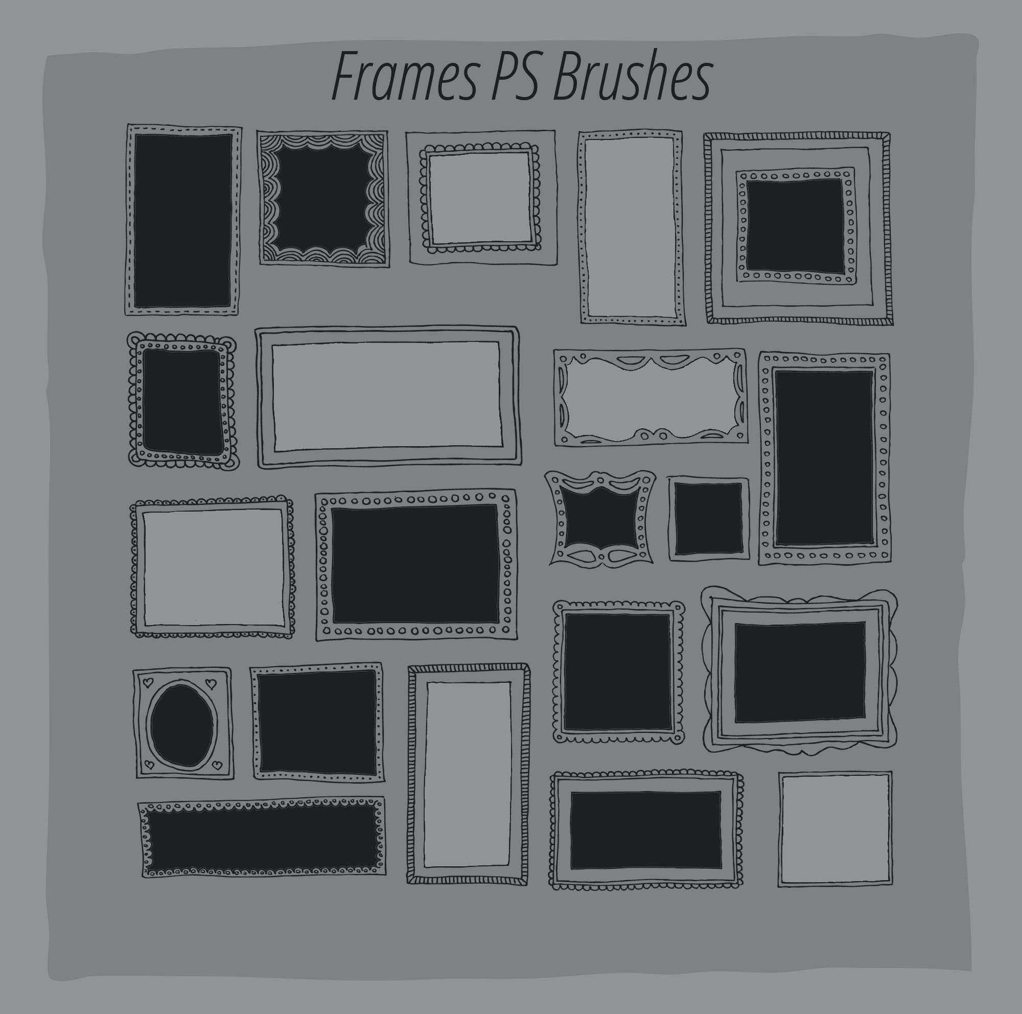 20 Hand Drawn Frames Brushes - Photoshop brushes