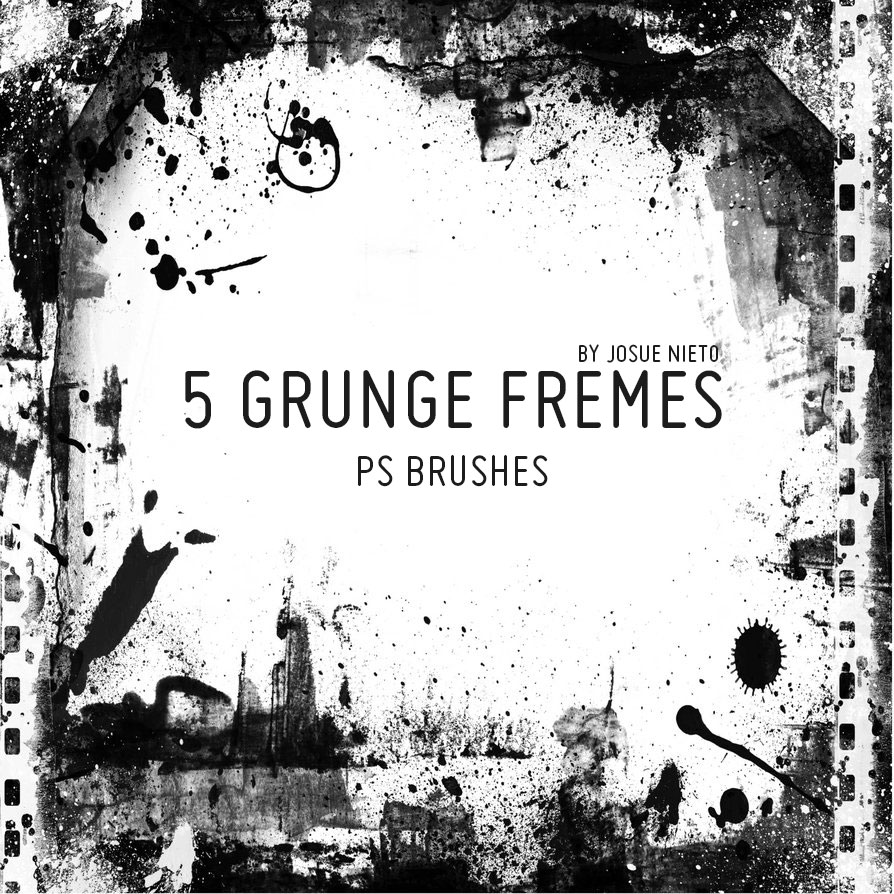 5 Grunge Frames Brushes - Photoshop brushes