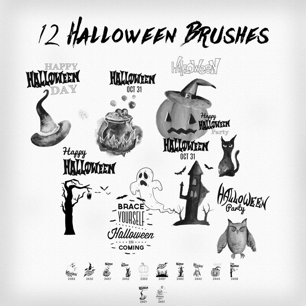 12 Halloween Symbols - Photoshop brushes