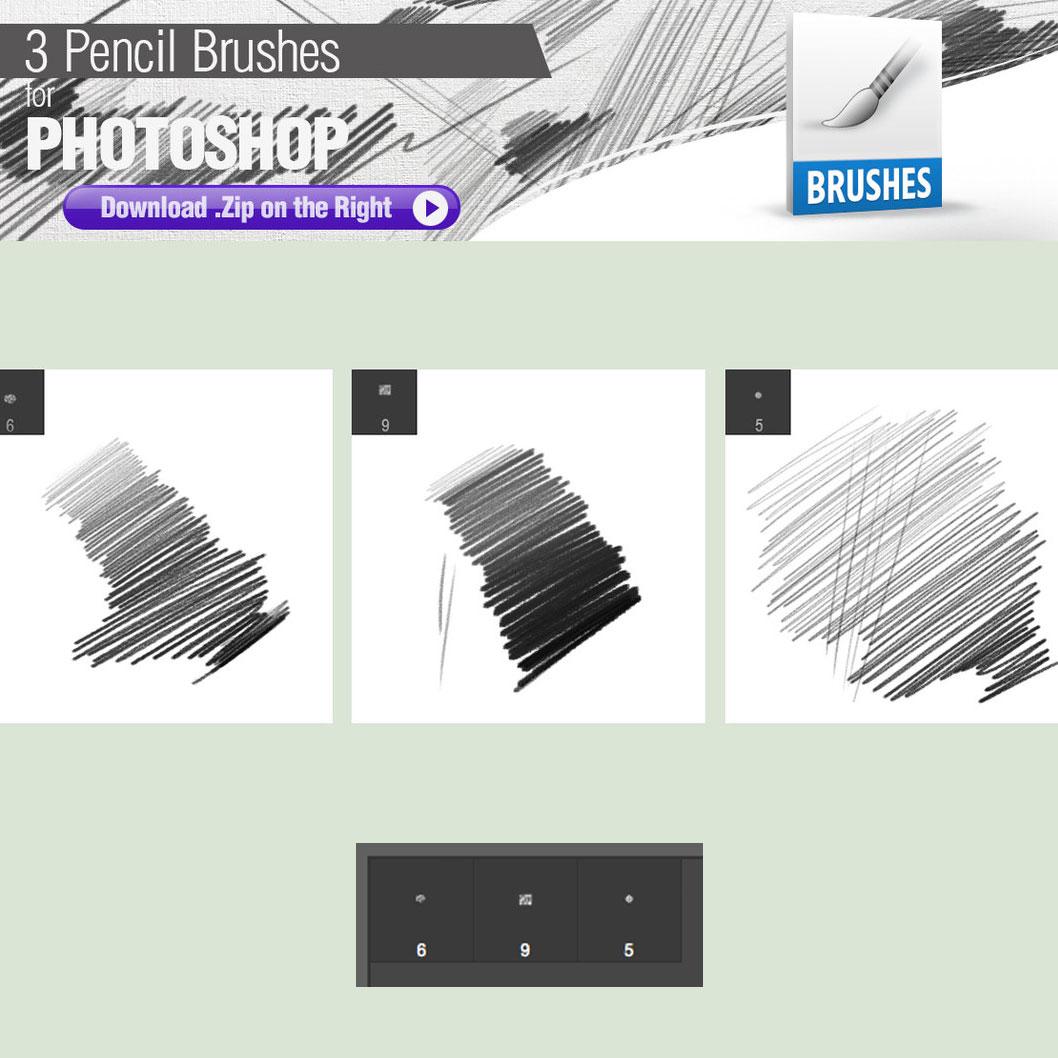 3 Pencil Brushes - Photoshop brushes