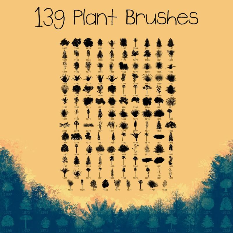 Photoshop brushes tree, set