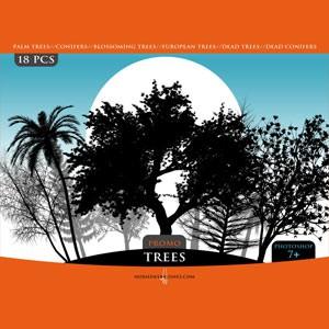 Photoshop brushes tree, silhouettes