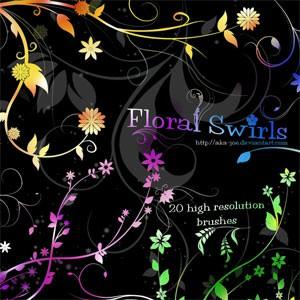 Photoshop brushes floral, swirls