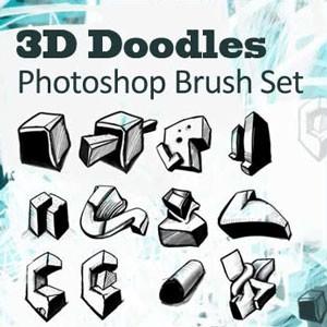 Photoshop brushes doodle 3d
