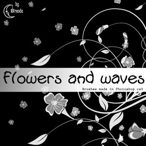 Photoshop brushes flowers waves