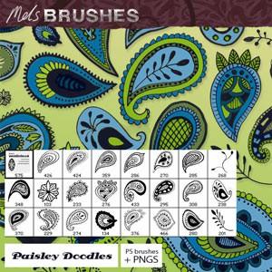 Photoshop brushes drawn paisley