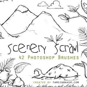 Photoshop brushes landscape, doodle