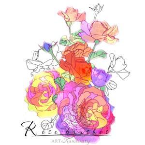 Photoshop brushes rose, doodle