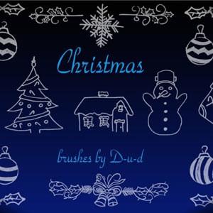 Photoshop brushes doodle, christmas, tree, snowman