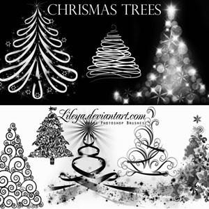 Photoshop brushes christmas, trees