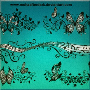 Photoshop brushes butterfly, ornament