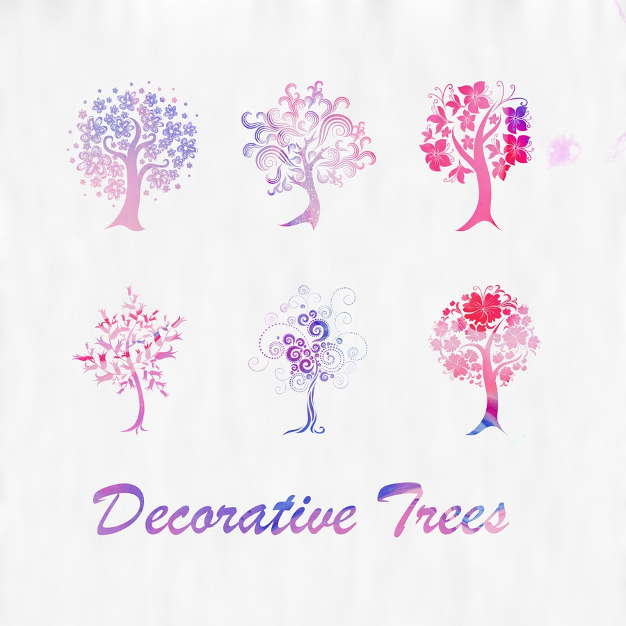 Photoshop brushes trees, ornament, silhouettes