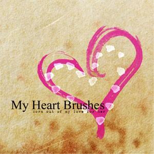 Photoshop brushes hearts, doodle