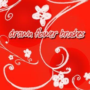 Photoshop brushes doodle, flowers