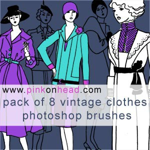 Photoshop brushes vintage, clothes, woman, collection