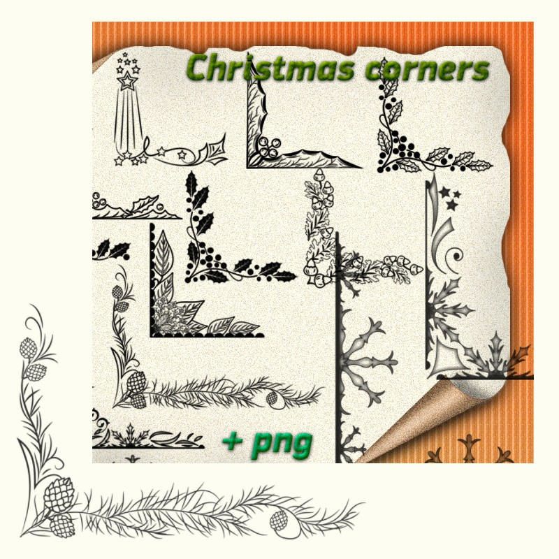 Photoshop brushes christmas corners