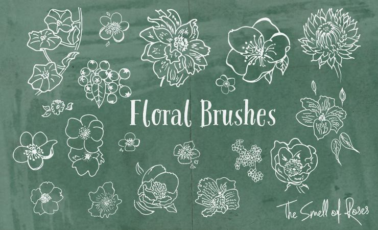 Photoshop brushes floral,flowers, roses