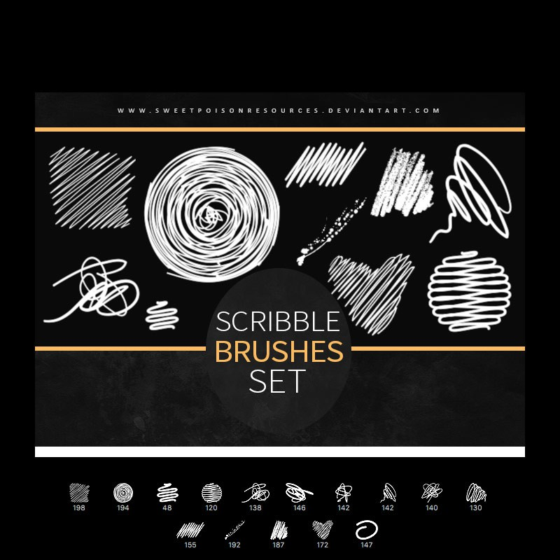 Photoshop brushes abstract, lines, scribble