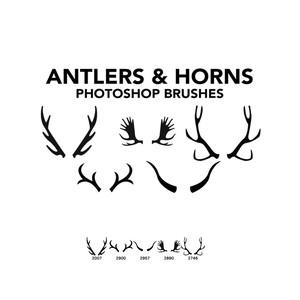 Antlers and Horns 5 Photoshop Brushes