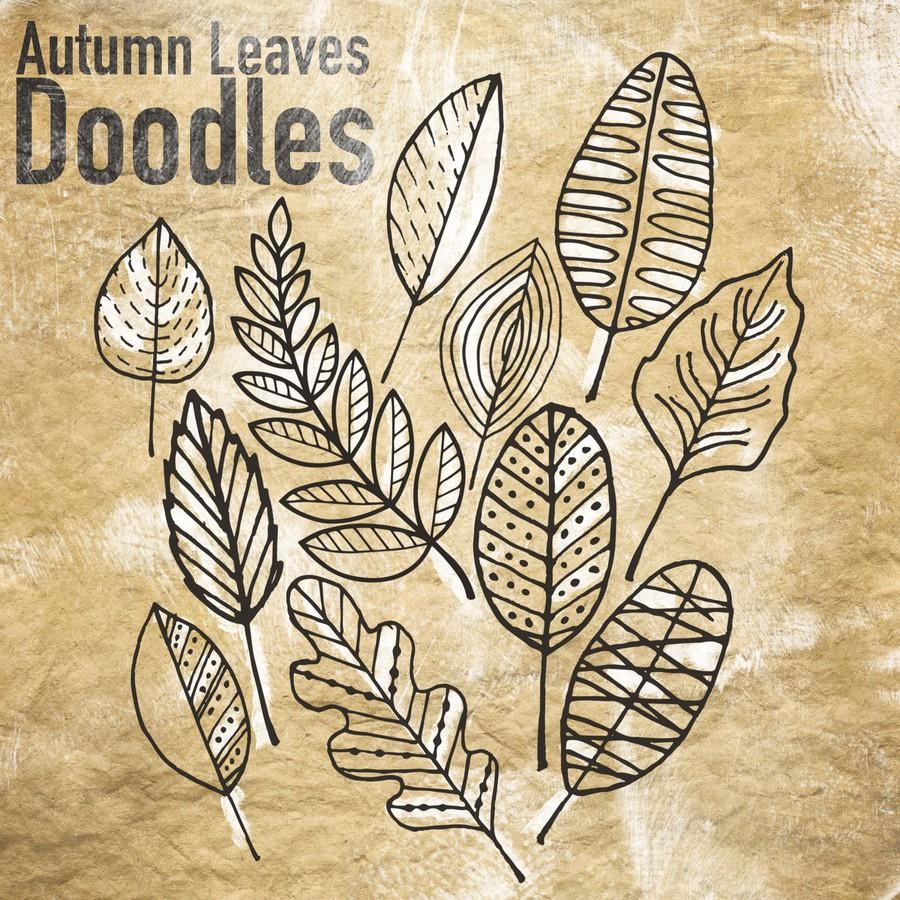 Photoshop brushes autumn, doodle, leaves