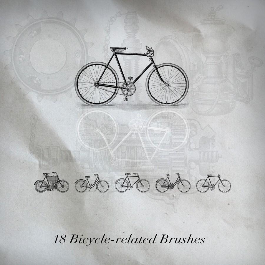Photoshop brushes bicycle, retro