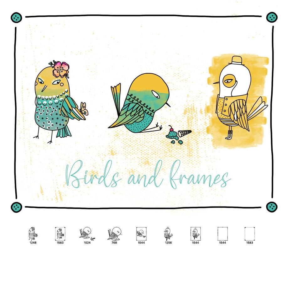 Photoshop brushes birds, doodle
