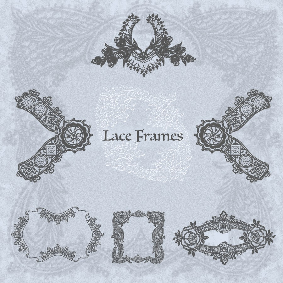 Photoshop brushes border, lace