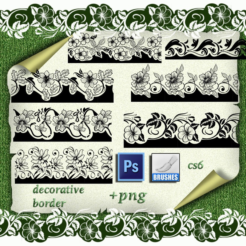 Photoshop brushes floral, borders, decorative