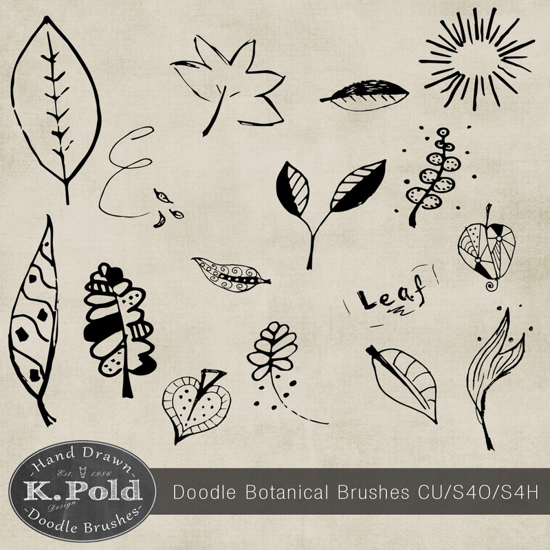 Photoshop brushes doodle,botanical,leaves