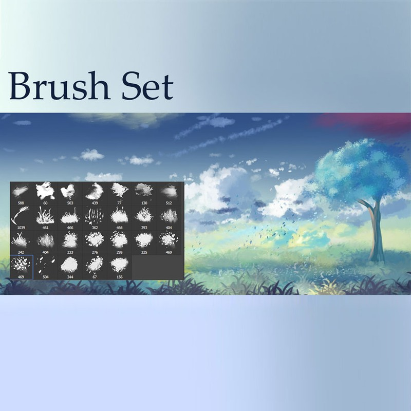 Photoshop brushes clouds,grass,leaves