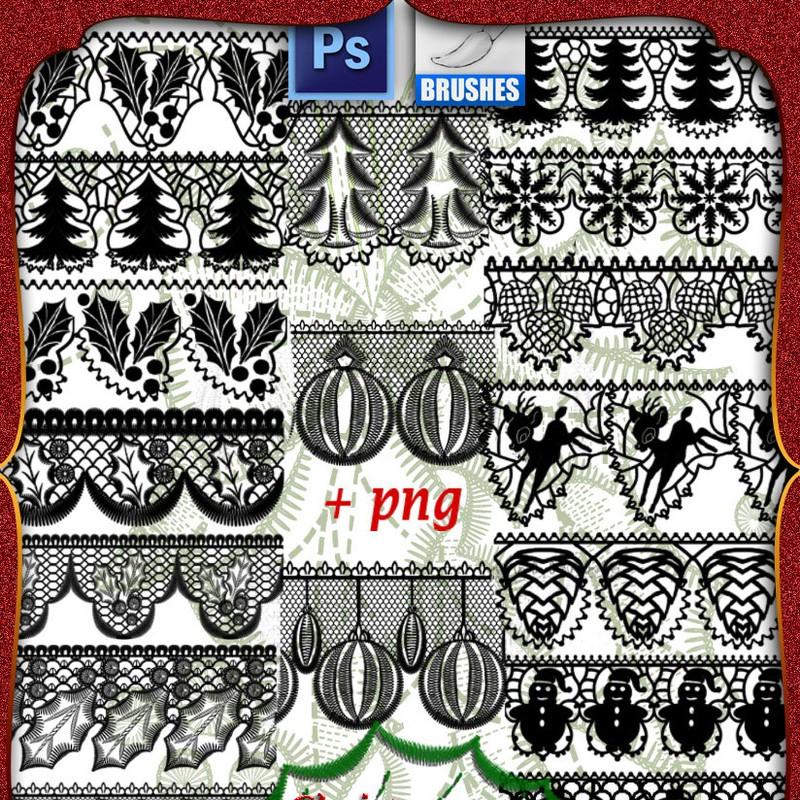 Photoshop brushes christmas lace