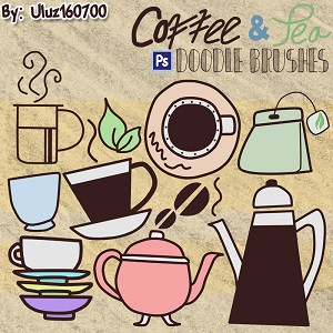 Photoshop brushes coffee, jug, cup,
