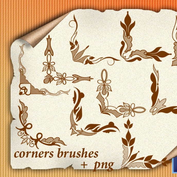 Photoshop brushes corner, floral