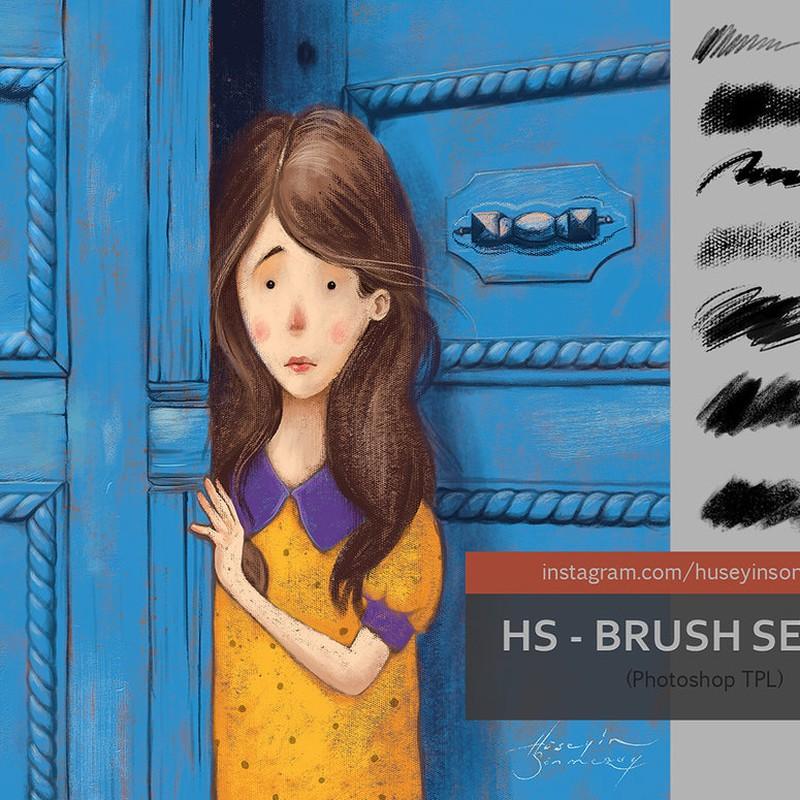 Photoshop brushes crayon, pastels, canvas