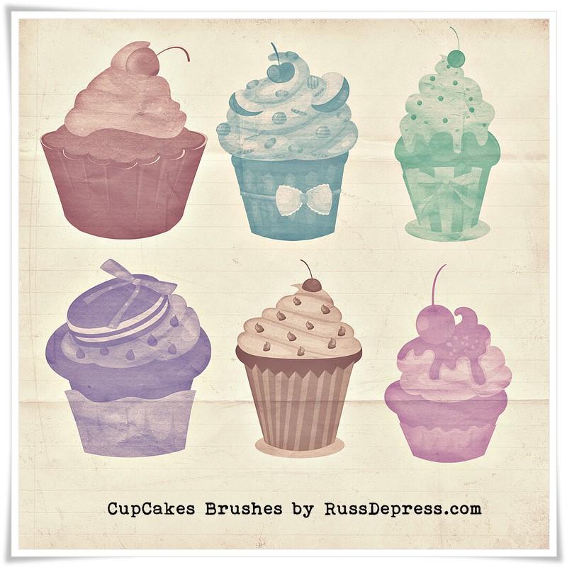 Photoshop brushes cupcakes