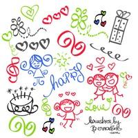 Set of 21 Happy Girly Girl Love Doodles Brush Set