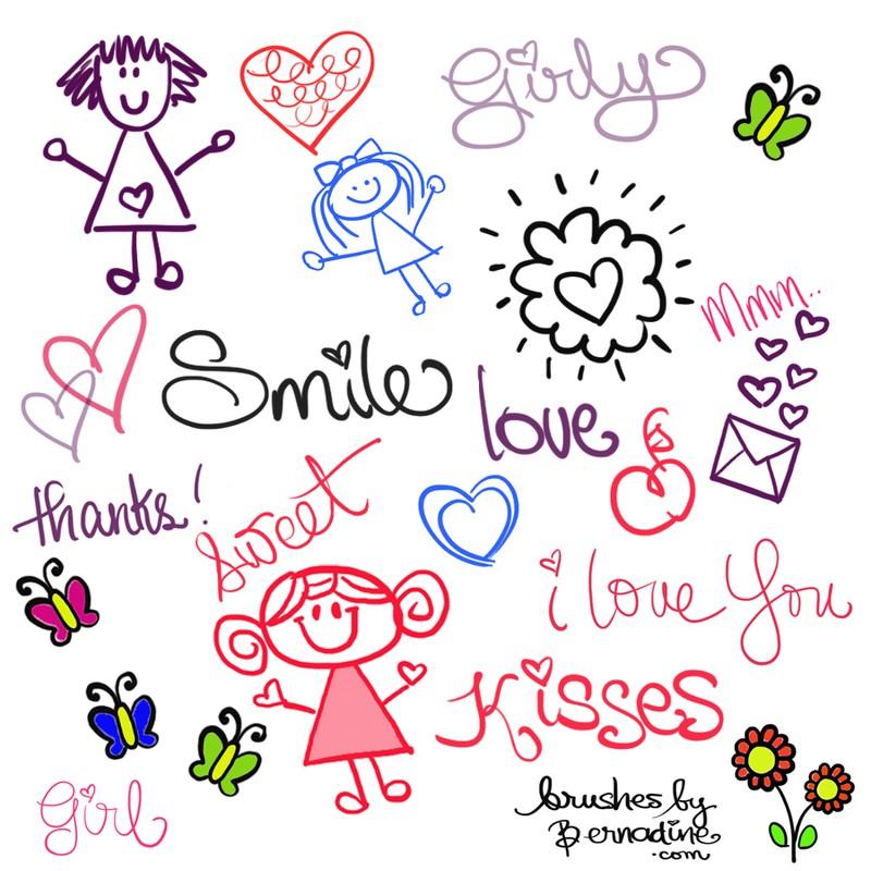 Photoshop brushes doodle love