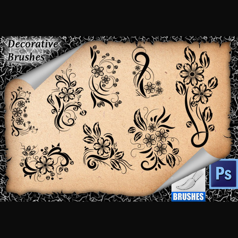 Photoshop brushes floral, ornament
