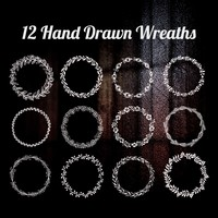 12 Hand Drawn Wreaths