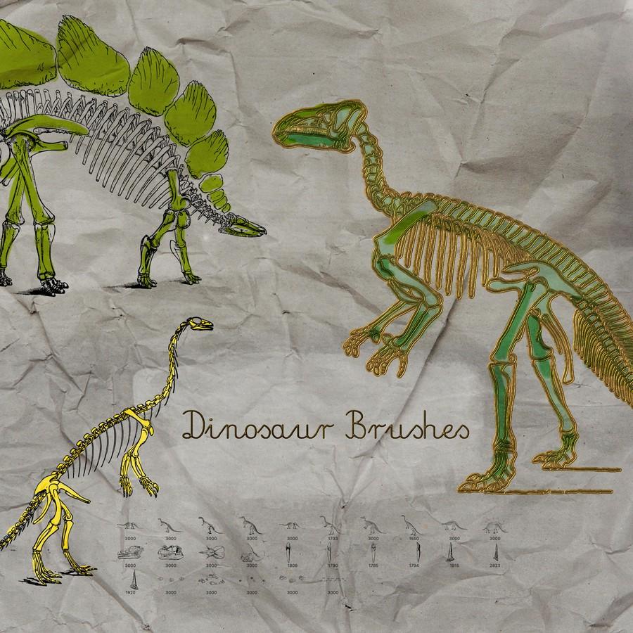 Photoshop brushes dinosaur, skeleton