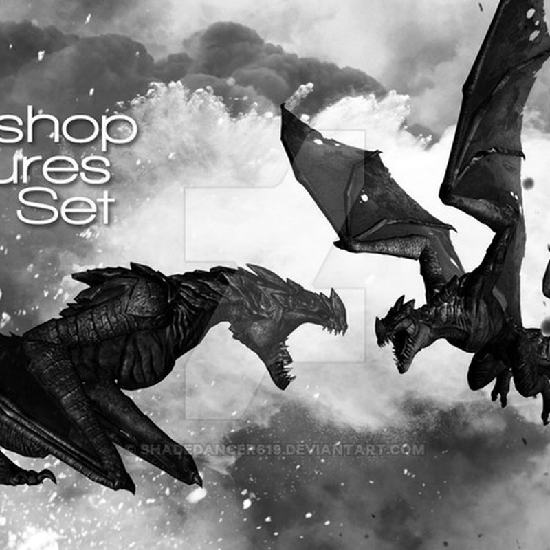 Photoshop brushes dragons, wings