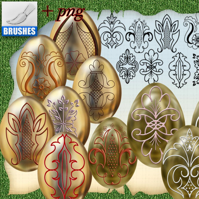 Photoshop brushes easter, ornament