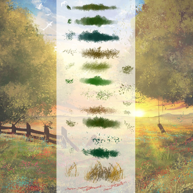 Photoshop brushes vegetation, illustration