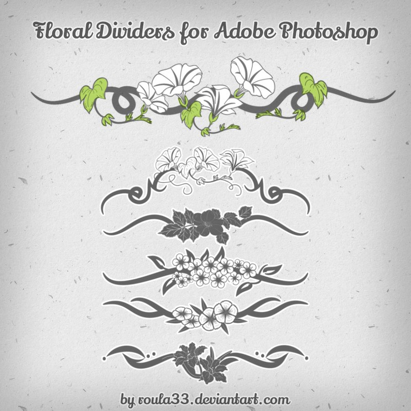 Photoshop brushes floral, dividers