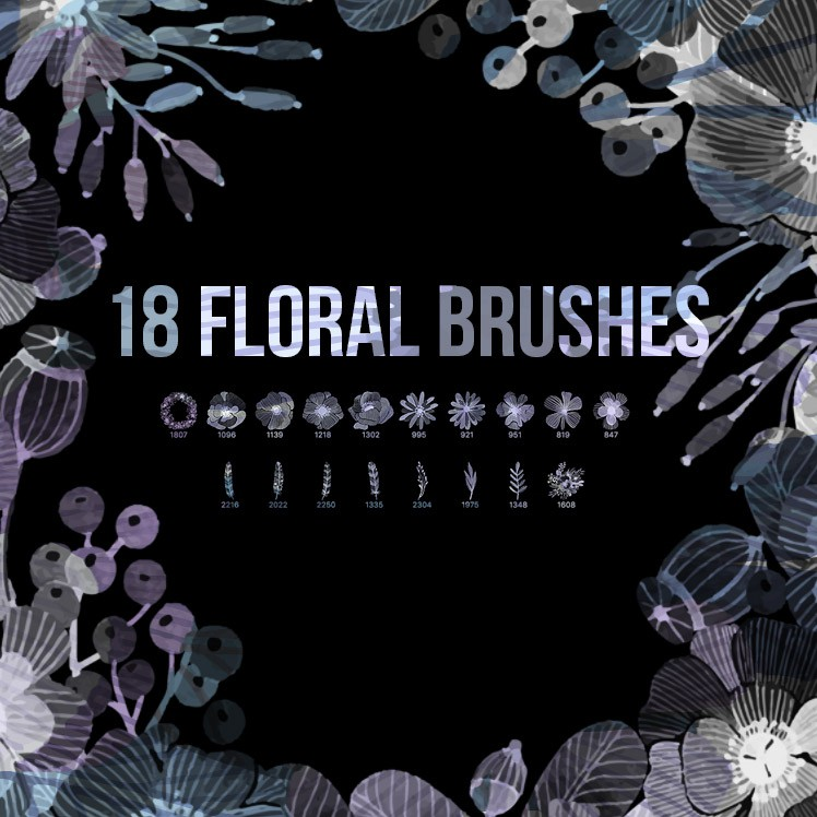 Photoshop brushes floral, flowers, wreath