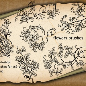 6 Floral Decorative Brushes