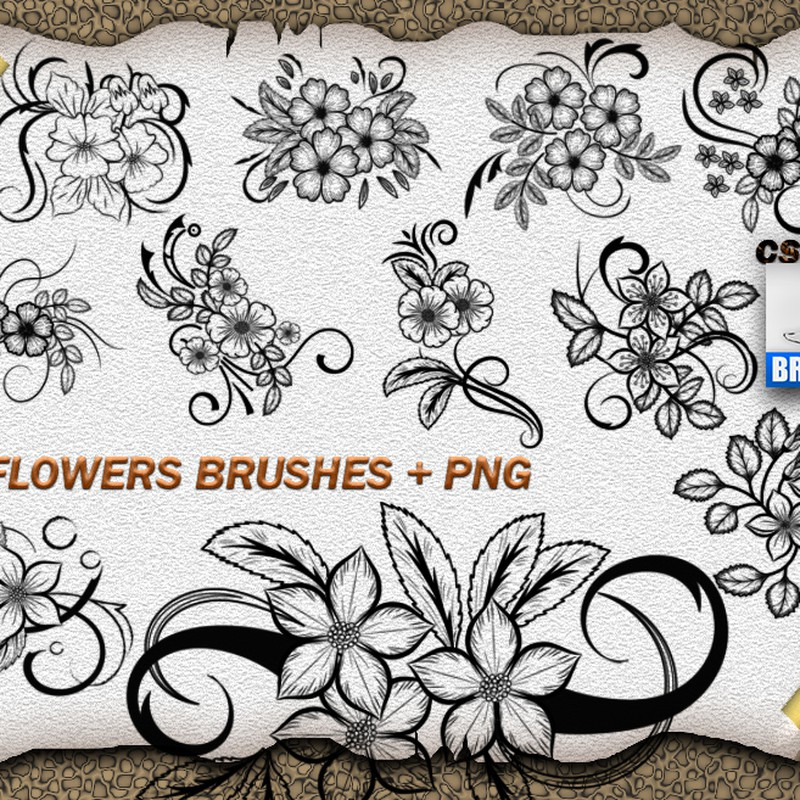 Photoshop brushes flowers, swirls